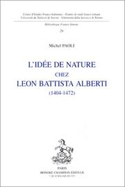 Cover of: L' idée de nature chez Leon Battista Alberti, 1404-1472