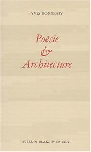 Cover of: Poésie et architecture