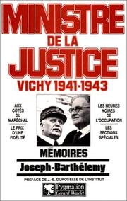 Cover of: Ministre de la justice