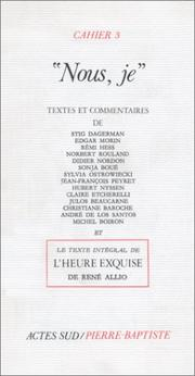 Cover of: Nous, je