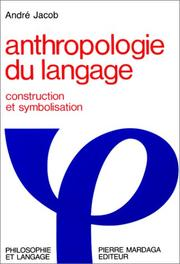 Cover of: Anthropologie du langage