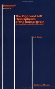 Cover of: right and left hemispheres of the animal brain | V. L. Bianki