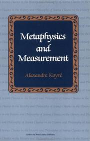Cover of: Metaphysics and measurement