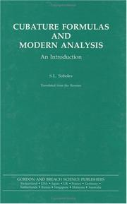 Cover of: Cubature formulas and modern analysis