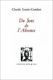 Cover of: Du sens de l'absence