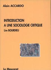 Cover of: Introduction à une sociologie critique