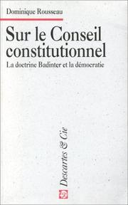 Cover of: Sur le Conseil constitutionnel
