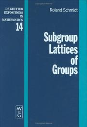 Cover of: Subgroup lattices of groups