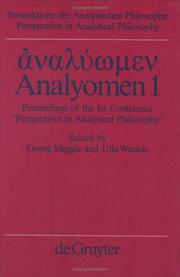 Cover of: Analyomen 1 | Georg Meggle