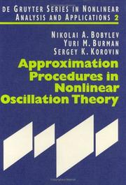 Cover of: Approximation procedures in nonlinear oscillation theory