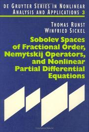 Cover of: Sobolev spaces of fractional order, Nemytskij operators, and nonlinear partial differential equations