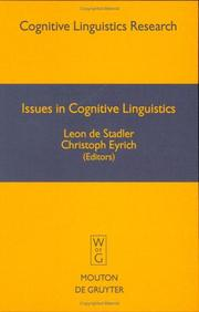 Cover of: Issues in cognitive linguistics