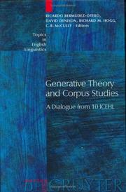 Cover of: Generative theory and corpus studies |