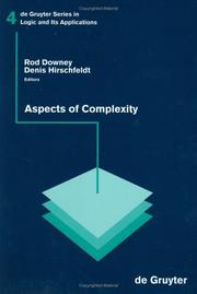 Cover of: Aspects of Complexity |