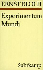 Cover of: Experimentum mundi