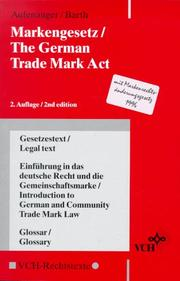 Cover of: Markengesetz =: The German Trade Mark Act