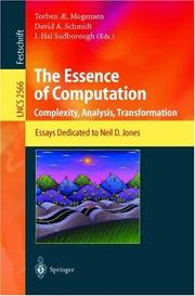 Cover of: The essence of computation