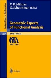 Cover of: Geometric Aspects of Functional Analysis |