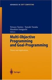 Cover of: Multi-Objective Programming and Goal Programming |