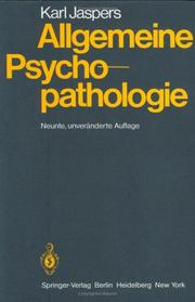 Cover of: Allgemeine Psychopathologie