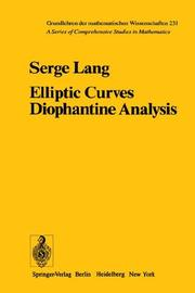 Cover of: Elliptic Curves | S. Lang