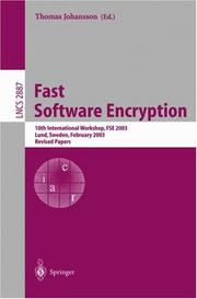 Cover of: Fast Software Encryption