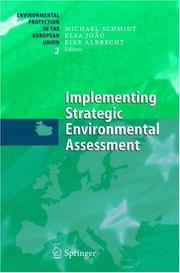 Cover of: Implementing strategic environmental assessment