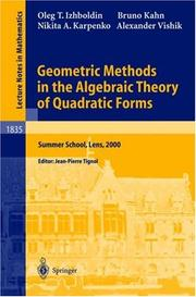 Cover of: Geometric Methods in the Algebraic Theory of Quadratic Forms | Oleg T. Izhboldin