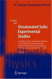 Cover of: Unsaturated Soils: Experimental Studies | T. Schanz