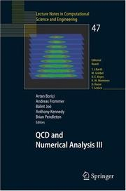 Cover of: QCD and numerical analysis III by