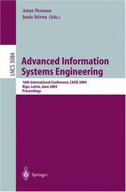 Cover of: Advanced Information Systems Engineering |
