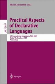 Cover of: Practical Aspects of Declarative Languages | Bharat Jayaraman