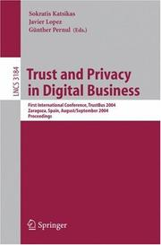 Cover of: Trust and Privacy in Digital Business |