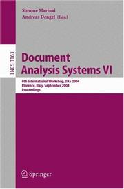 Cover of: Document Analysis Systems VI |
