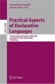 Cover of: Practical aspects of declarative languages by