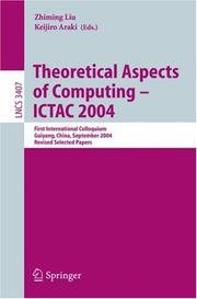 Cover of: Theoretical Aspects of Computing - ICTAC 2004 |