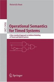 Cover of: Operational semantics for timed systems | Heinrich Rust