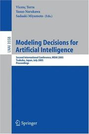 Cover of: Modeling Decisions for Artificial Intelligence. |