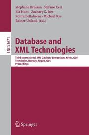 Cover of: Database and XML Technologies |