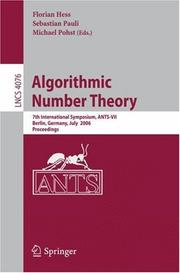 Cover of: Algorithmic Number Theory |