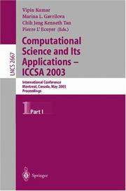 Cover of: Computational Science and Its Applications - ICCSA 2003 |