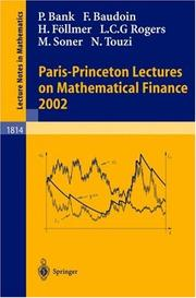 Cover of: Paris-Princeton Lectures on Mathematical Finance 2002 |
