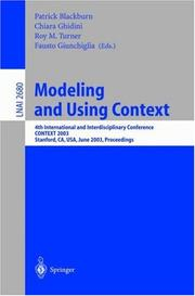 Cover of: Modeling and Using Context |