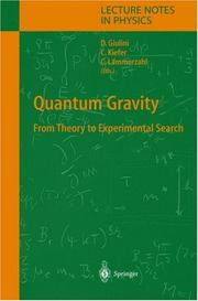 Cover of: Quantum gravity by