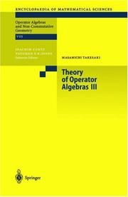 Cover of: Theory of Operator Algebras III