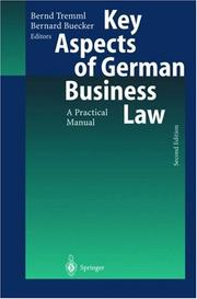 Cover of: Key aspects of German business law |