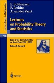 Cover of: Lectures on probability theory and statistics by