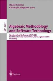 Cover of: Algebraic Methodology and Software Technology |