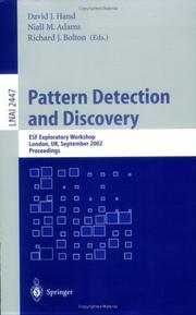 Cover of: Pattern Detection and Discovery |