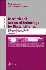 Cover of: Research and advanced technology for digital libraries | ECDL 2002 (2002 Rome, Italy)